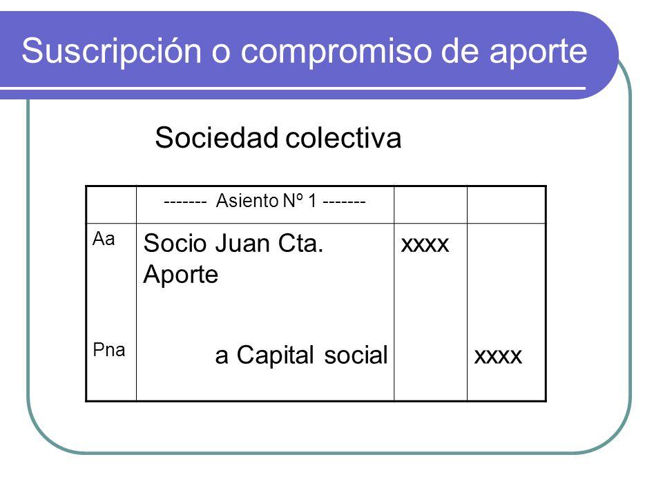 Suscripción o compromiso de aporte Sociedad colectiva ------- Asiento Nº 1 ------- Aa Socio Juan Cta. Aporte xxxx Pna a Capital socialxxxx