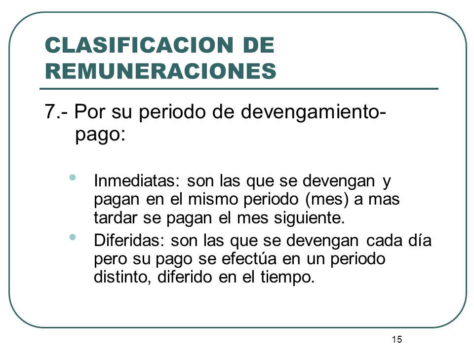 15 CLASIFICACION DE REMUNERACIONES 7.- Por su periodo de devengamiento- pago: Inmediatas: son las que se devengan y pagan en el mismo periodo (mes) a