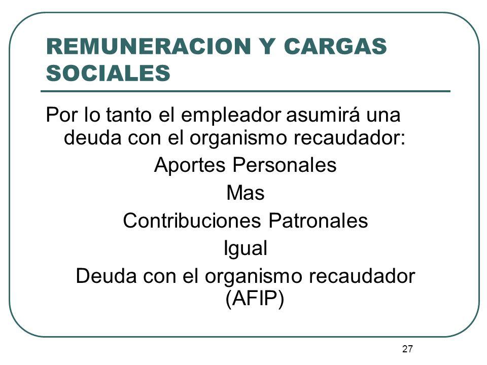 27 REMUNERACION Y CARGAS SOCIALES Por lo tanto el empleador asumirá una deuda con el organismo recaudador: Aportes Personales Mas Contribuciones Patro