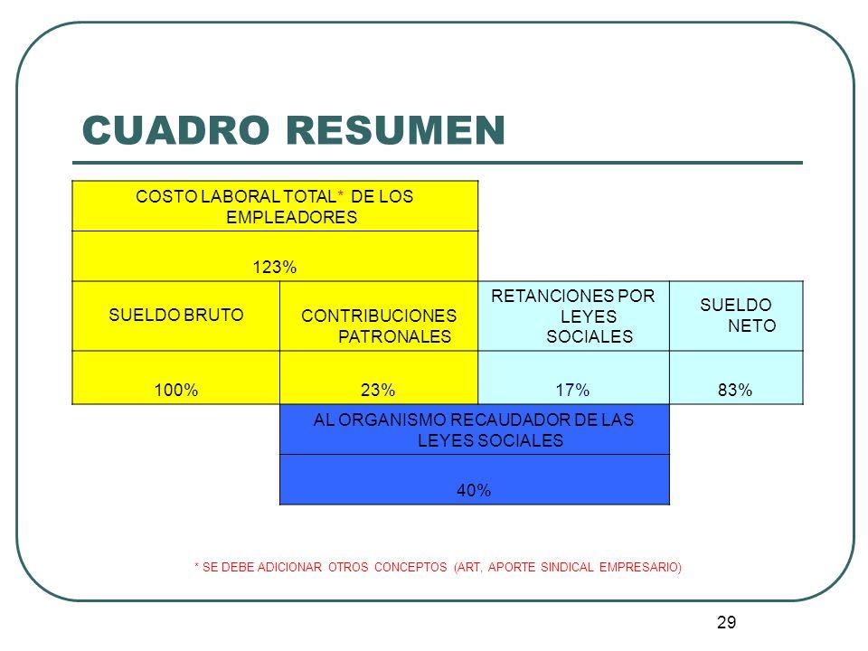 29 CUADRO RESUMEN COSTO LABORAL TOTAL* DE LOS EMPLEADORES 123% SUELDO BRUTO CONTRIBUCIONES PATRONALES RETANCIONES POR LEYES SOCIALES SUELDO NETO 100%2