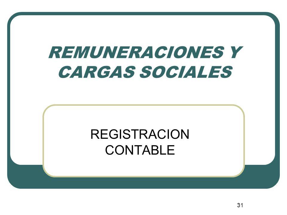 31 REMUNERACIONES Y CARGAS SOCIALES REGISTRACION CONTABLE
