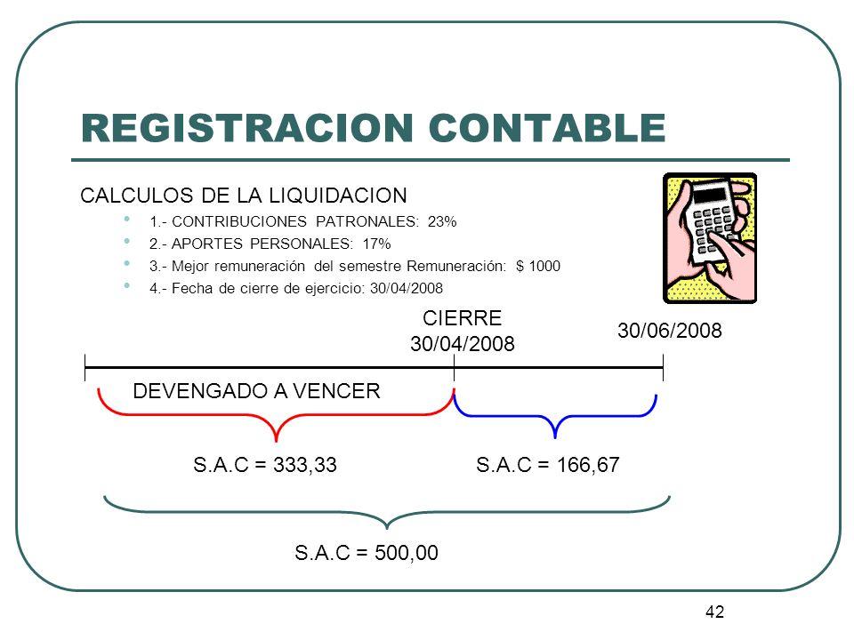 42 REGISTRACION CONTABLE CALCULOS DE LA LIQUIDACION 1.- CONTRIBUCIONES PATRONALES: 23% 2.- APORTES PERSONALES: 17% 3.- Mejor remuneración del semestre