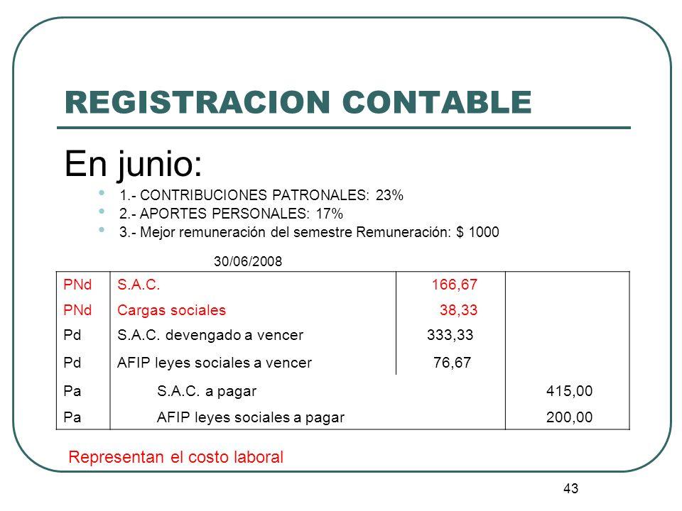 43 REGISTRACION CONTABLE En junio: 1.- CONTRIBUCIONES PATRONALES: 23% 2.- APORTES PERSONALES: 17% 3.- Mejor remuneración del semestre Remuneración: $