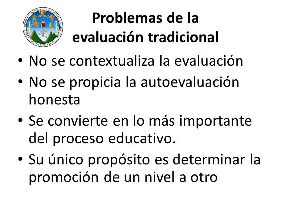 Problemas de la evaluación tradicional No se contextualiza la evaluación No se propicia la autoevaluación honesta Se convierte en lo más importante de