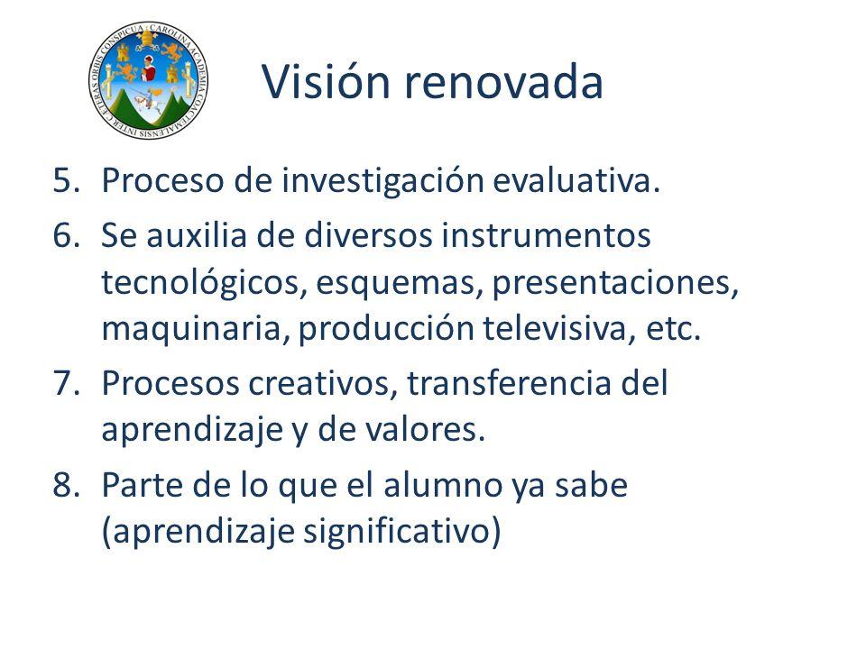 Visión renovada 5.Proceso de investigación evaluativa. 6.Se auxilia de diversos instrumentos tecnológicos, esquemas, presentaciones, maquinaria, produ