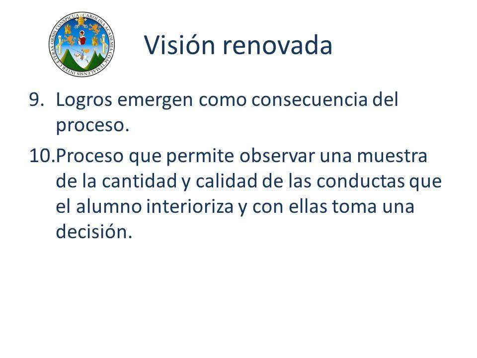 Visión renovada 9.Logros emergen como consecuencia del proceso. 10.Proceso que permite observar una muestra de la cantidad y calidad de las conductas