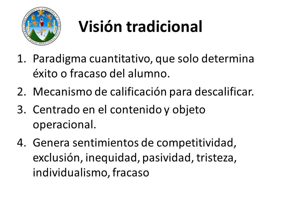 Visión tradicional 1.Paradigma cuantitativo, que solo determina éxito o fracaso del alumno. 2.Mecanismo de calificación para descalificar. 3.Centrado
