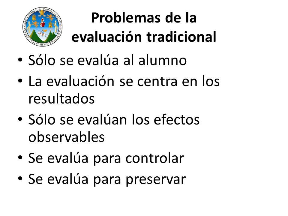 Problemas de la evaluación tradicional Sólo se evalúa al alumno La evaluación se centra en los resultados Sólo se evalúan los efectos observables Se e