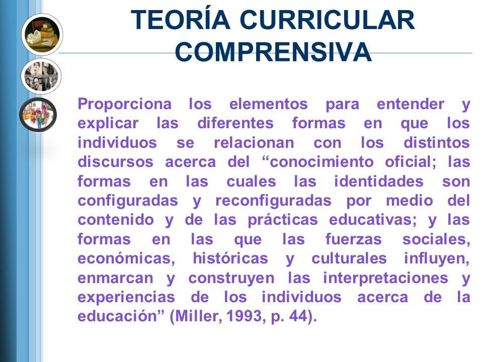 TEORÍA CURRICULAR COMPRENSIVA Proporciona los elementos para entender y explicar las diferentes formas en que los individuos se relacionan con los dis