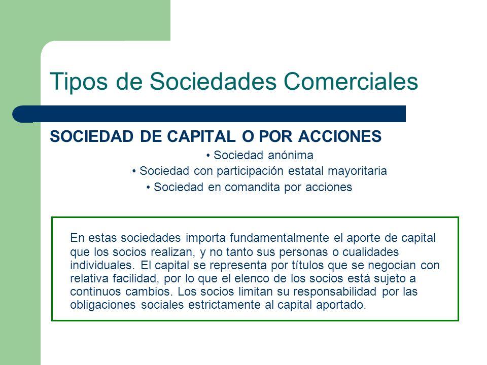 Tipos de Sociedades Comerciales SOCIEDAD DE CAPITAL O POR ACCIONES Sociedad anónima Sociedad con participación estatal mayoritaria Sociedad en comandi