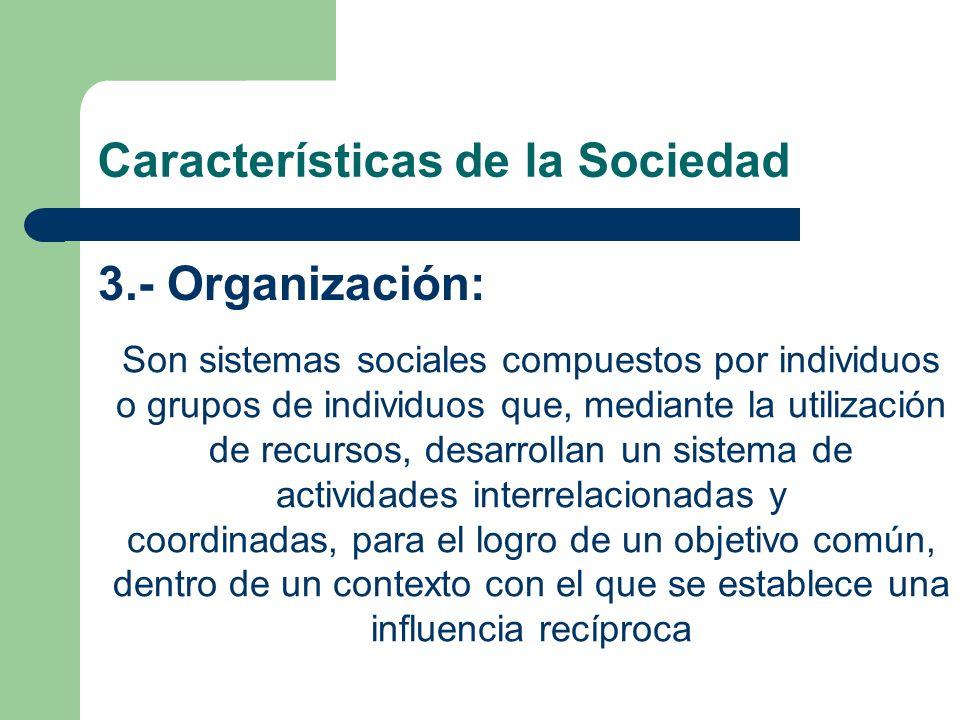 Características de la Sociedad 3.- Organización: Son sistemas sociales compuestos por individuos o grupos de individuos que, mediante la utilización d