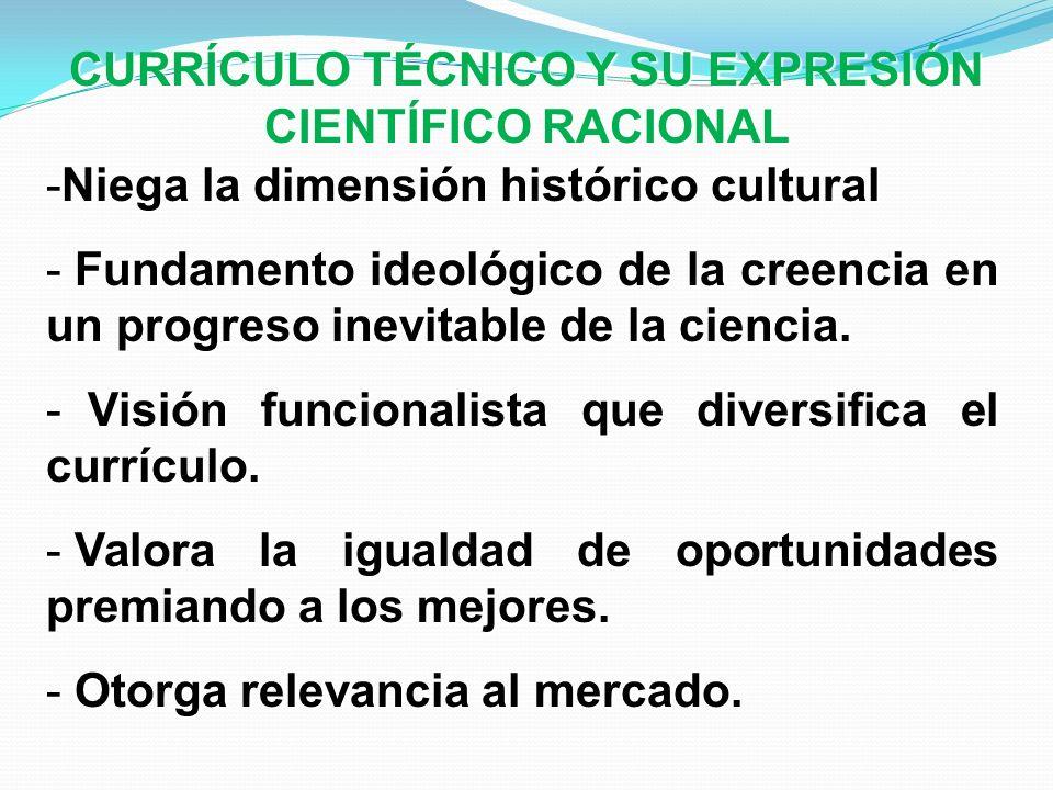 -Niega la dimensión histórico cultural - Fundamento ideológico de la creencia en un progreso inevitable de la ciencia. - Visión funcionalista que dive