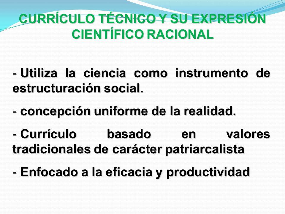 - Utiliza la ciencia como instrumento de estructuración social. - concepción uniforme de la realidad. - Currículo basado en valores tradicionales de c