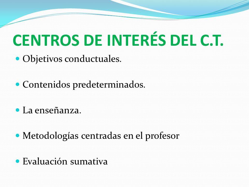 CENTROS DE INTERÉS DEL C.T. Objetivos conductuales. Contenidos predeterminados. La enseñanza. Metodologías centradas en el profesor Evaluación sumativ