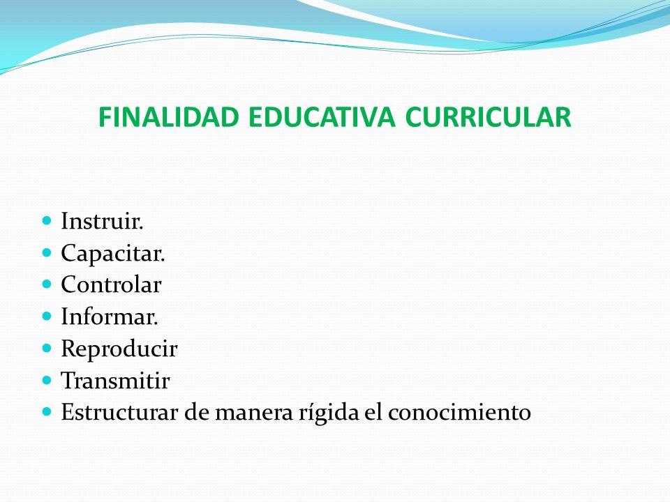 FINALIDAD EDUCATIVA CURRICULAR Instruir. Capacitar. Controlar Informar. Reproducir Transmitir Estructurar de manera rígida el conocimiento