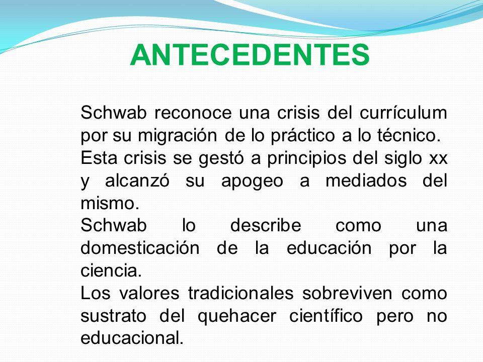 Schwab reconoce una crisis del currículum por su migración de lo práctico a lo técnico. Esta crisis se gestó a principios del siglo xx y alcanzó su ap