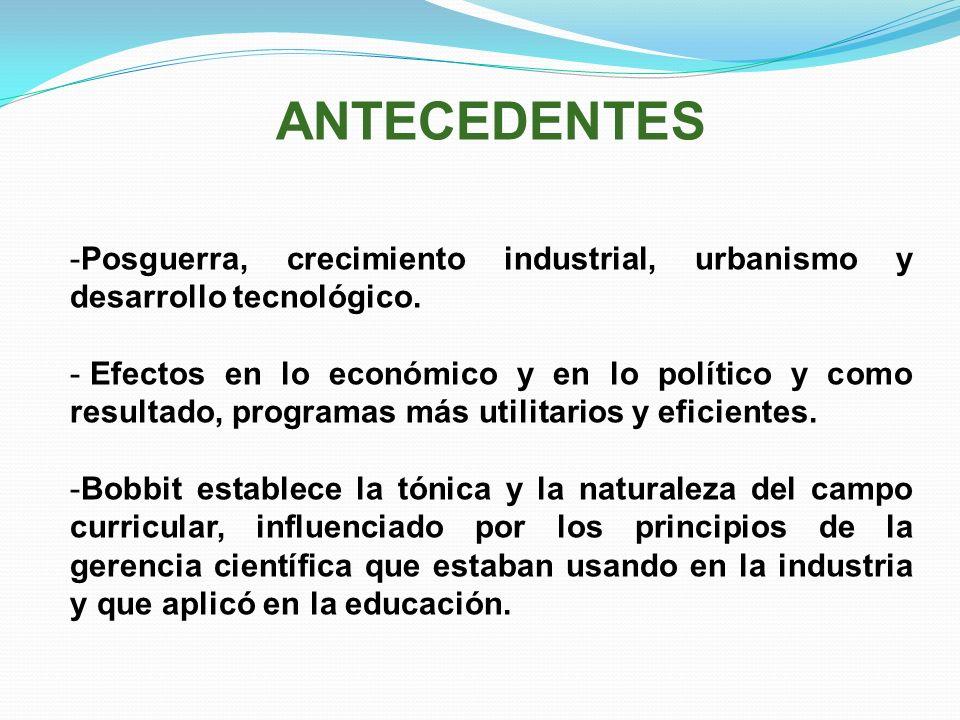 ANTECEDENTES -Posguerra, crecimiento industrial, urbanismo y desarrollo tecnológico. - Efectos en lo económico y en lo político y como resultado, prog