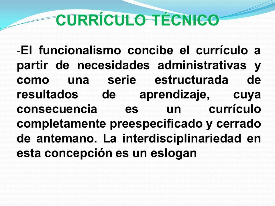 CURRÍCULO TÉCNICO -El funcionalismo concibe el currículo a partir de necesidades administrativas y como una serie estructurada de resultados de aprend