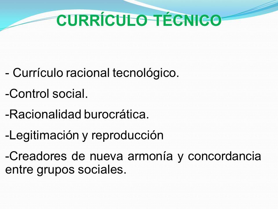 CURRÍCULO TÉCNICO - Currículo racional tecnológico. -Control social. -Racionalidad burocrática. -Legitimación y reproducción -Creadores de nueva armon