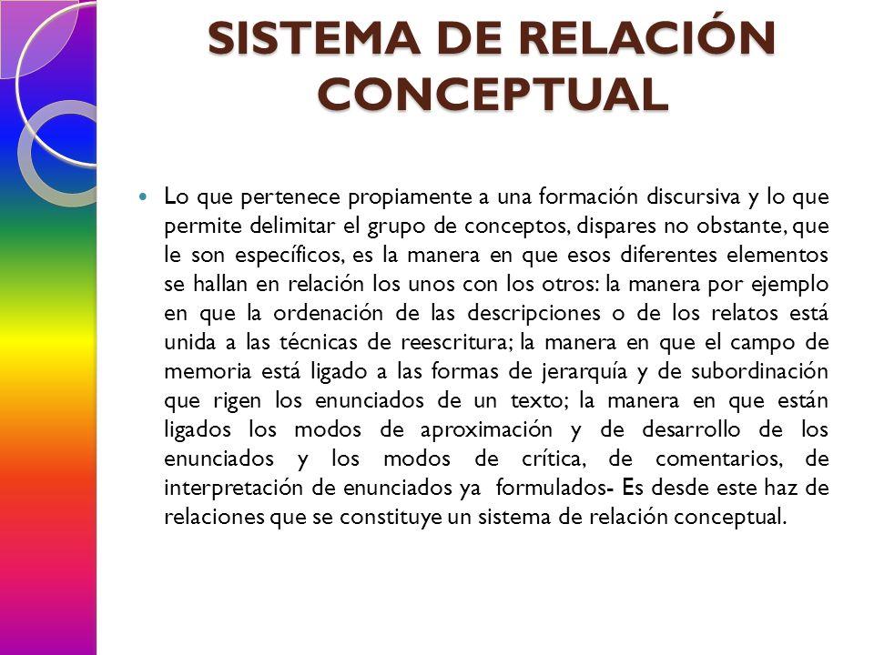 SISTEMA DE RELACIÓN CONCEPTUAL Lo que pertenece propiamente a una formación discursiva y lo que permite delimitar el grupo de conceptos, dispares no o