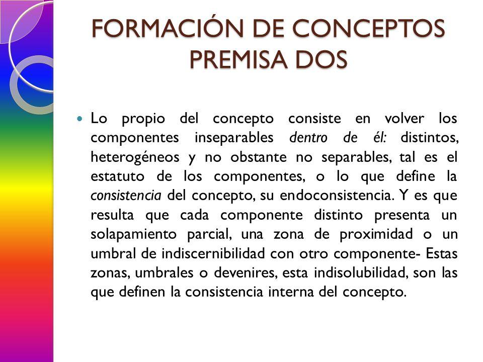 Lo propio del concepto consiste en volver los componentes inseparables dentro de él: distintos, heterogéneos y no obstante no separables, tal es el es