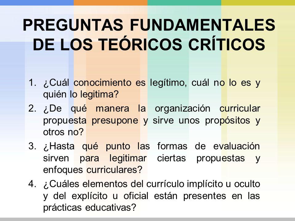 PREGUNTAS FUNDAMENTALES DE LOS TEÓRICOS CRÍTICOS 1.¿Cuál conocimiento es legítimo, cuál no lo es y quién lo legitima? 2.¿De qué manera la organización