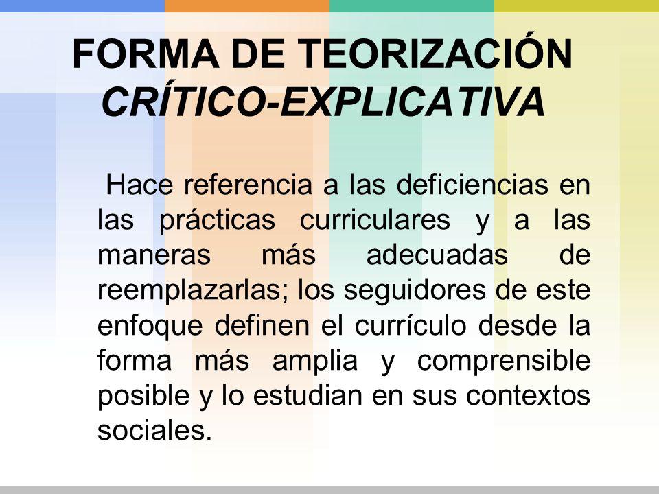 FORMA DE TEORIZACIÓN CRÍTICO-EXPLICATIVA Hace referencia a las deficiencias en las prácticas curriculares y a las maneras más adecuadas de reemplazarl