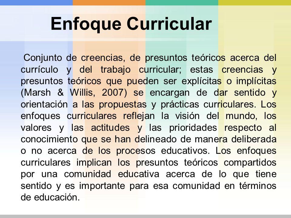 Enfoque Curricular Conjunto de creencias, de presuntos teóricos acerca del currículo y del trabajo curricular; estas creencias y presuntos teóricos qu