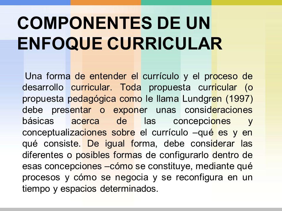 COMPONENTES DE UN ENFOQUE CURRICULAR Un sistema de valores lo suficientemente explícito que determine las bases de las decisiones específicas, tales como las funciones de los participantes en el desarrollo curricular.