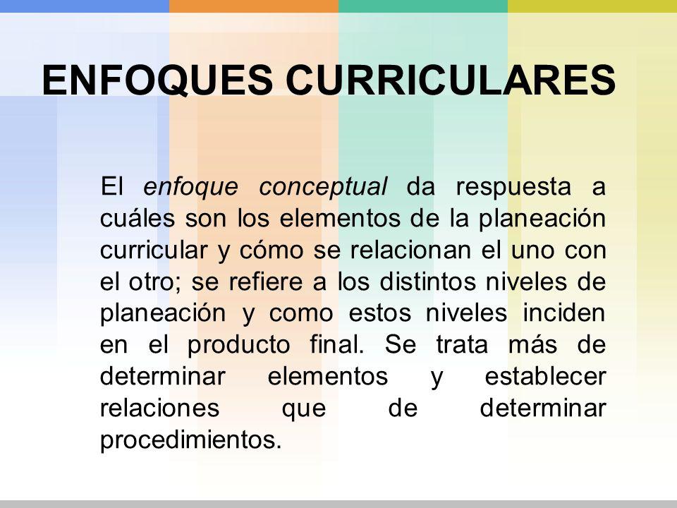 ENFOQUES CURRICULARES El enfoque conceptual da respuesta a cuáles son los elementos de la planeación curricular y cómo se relacionan el uno con el otr