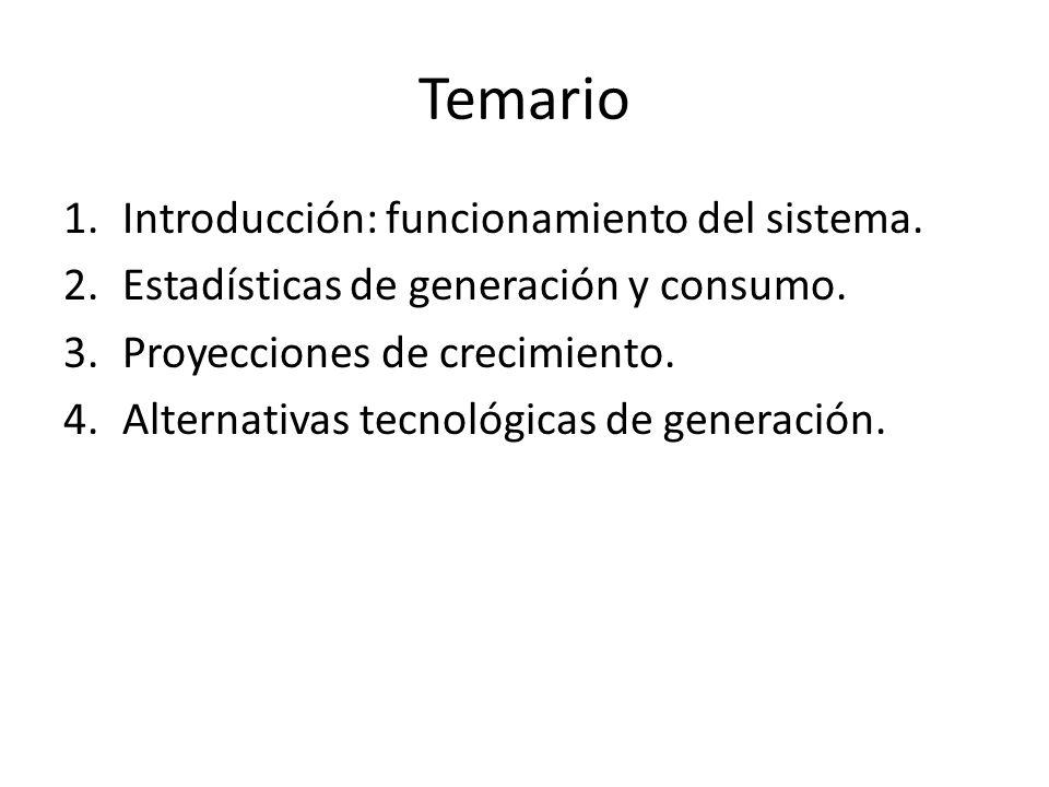 Temario 1.Introducción: funcionamiento del sistema. 2.Estadísticas de generación y consumo. 3.Proyecciones de crecimiento. 4.Alternativas tecnológicas