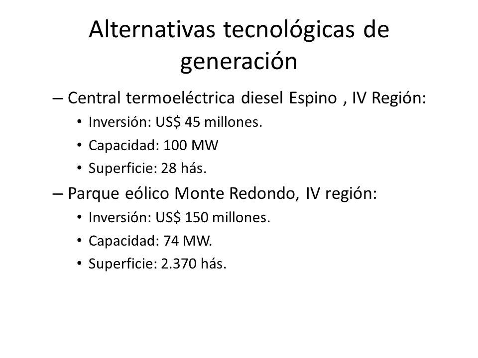 Alternativas tecnológicas de generación – Central termoeléctrica diesel Espino, IV Región: Inversión: US$ 45 millones. Capacidad: 100 MW Superficie: 2