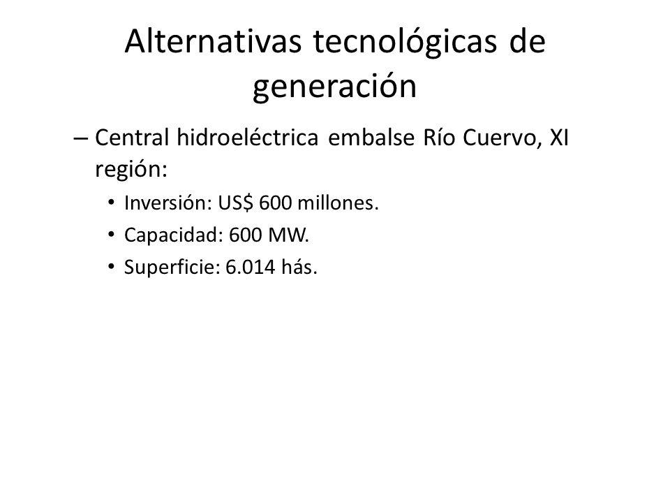 Alternativas tecnológicas de generación – Central hidroeléctrica embalse Río Cuervo, XI región: Inversión: US$ 600 millones. Capacidad: 600 MW. Superf