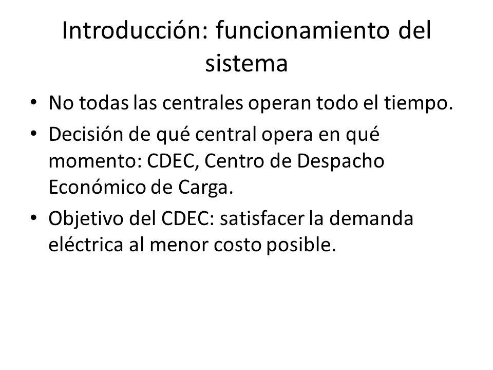 Introducción: funcionamiento del sistema No todas las centrales operan todo el tiempo. Decisión de qué central opera en qué momento: CDEC, Centro de D