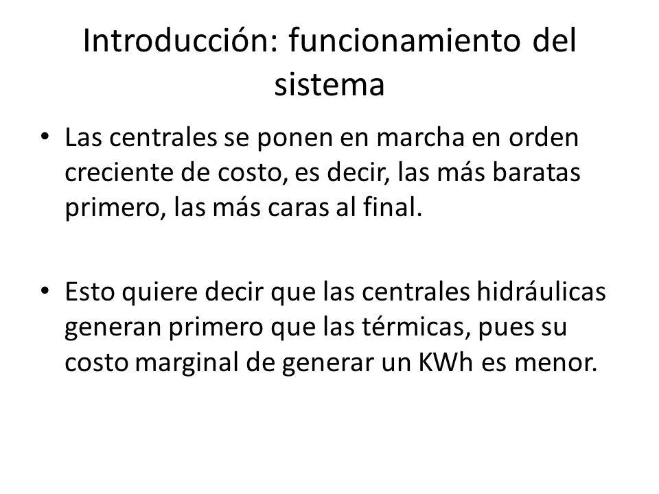 Introducción: funcionamiento del sistema Las centrales se ponen en marcha en orden creciente de costo, es decir, las más baratas primero, las más caras al final.