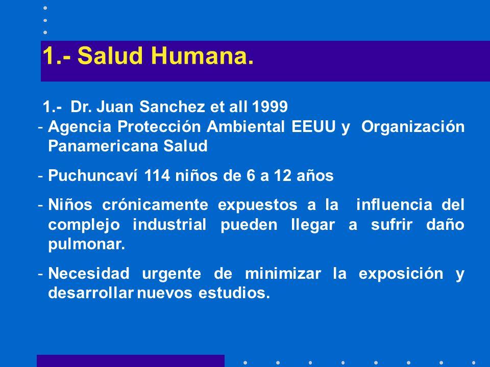 1.- Salud Humana. 1.- Dr. Juan Sanchez et all 1999 -Agencia Protección Ambiental EEUU y Organización Panamericana Salud -Puchuncaví 114 niños de 6 a 1
