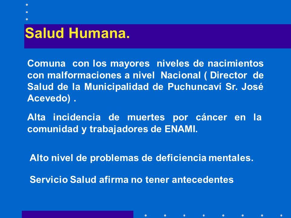 Salud Humana. Comuna con los mayores niveles de nacimientos con malformaciones a nivel Nacional ( Director de Salud de la Municipalidad de Puchuncaví