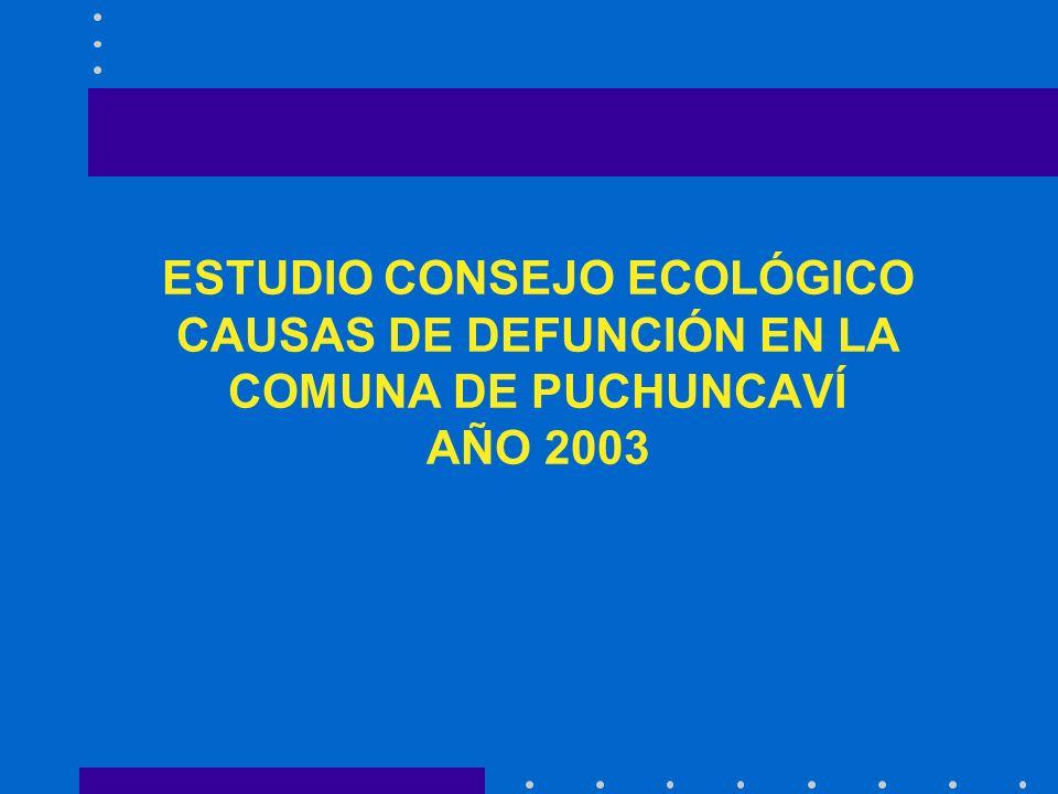 ESTUDIO CONSEJO ECOLÓGICO CAUSAS DE DEFUNCIÓN EN LA COMUNA DE PUCHUNCAVÍ AÑO 2003