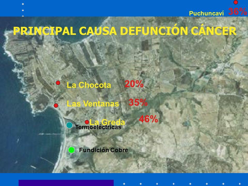 La Chocota La Greda Las Ventanas Puchuncaví PRINCIPAL CAUSA DEFUNCIÓN CÁNCER 20% 35% 36% 46% Fundición Cobre Termoeléctricas
