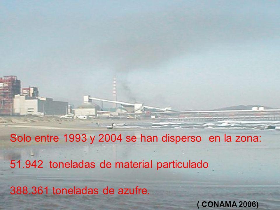 Solo entre 1993 y 2004 se han disperso en la zona: 51.942 toneladas de material particulado 388.361 toneladas de azufre. ( CONAMA 2006)