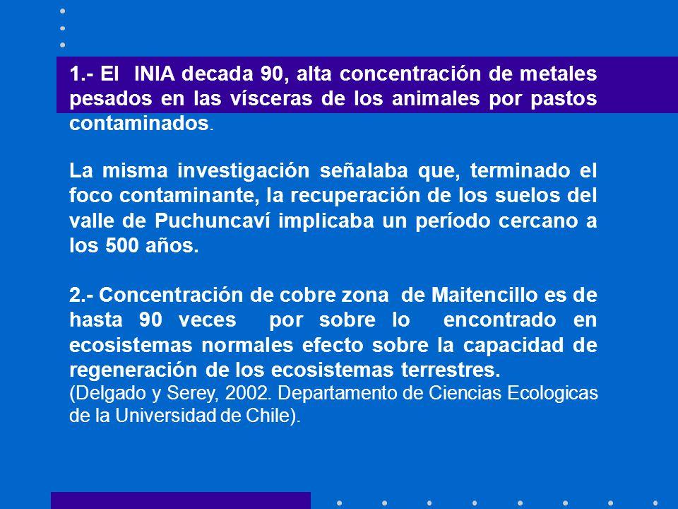 1.- El INIA decada 90, alta concentración de metales pesados en las vísceras de los animales por pastos contaminados. La misma investigación señalaba