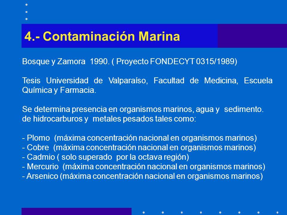 4.- Contaminación Marina Bosque y Zamora 1990. ( Proyecto FONDECYT 0315/1989) Tesis Universidad de Valparaíso, Facultad de Medicina, Escuela Química y