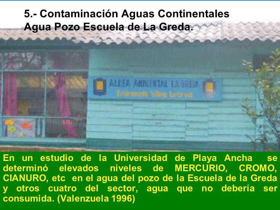 5.- Contaminación Aguas Continentales Agua Pozo Escuela de La Greda. En un estudio de la Universidad de Playa Ancha se determinó elevados niveles de M