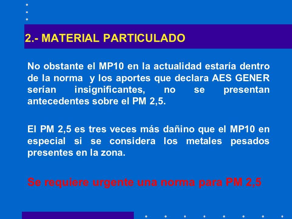 2.- MATERIAL PARTICULADO No obstante el MP10 en la actualidad estaría dentro de la norma y los aportes que declara AES GENER serían insignificantes, n