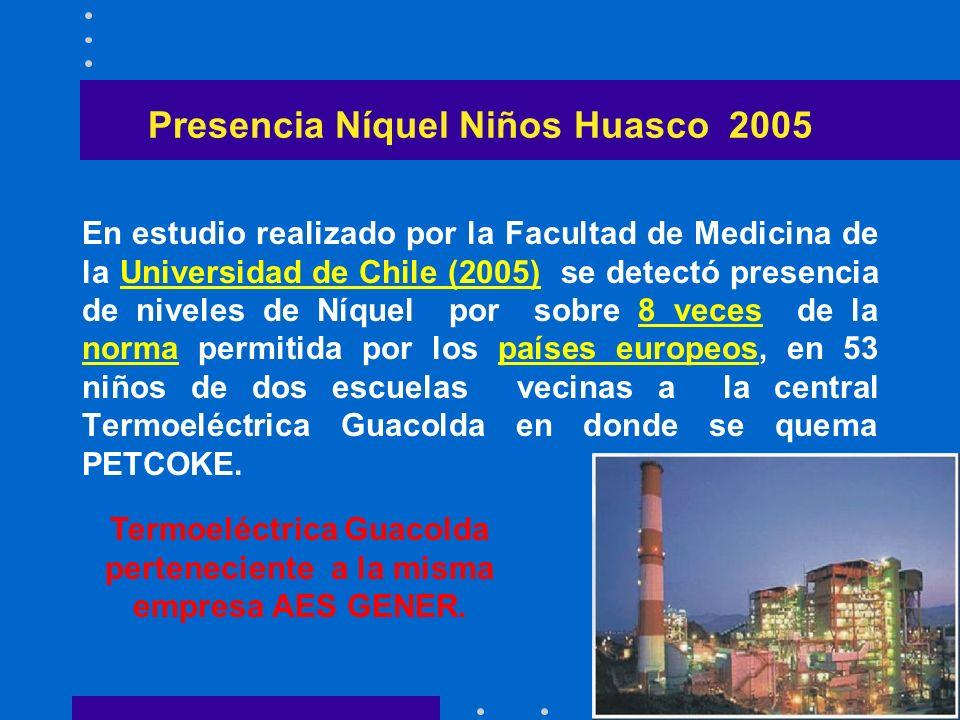 Presencia Níquel Niños Huasco 2005 En estudio realizado por la Facultad de Medicina de la Universidad de Chile (2005) se detectó presencia de niveles