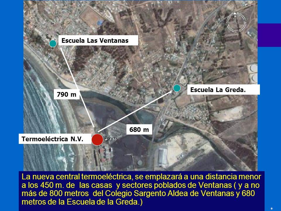 La nueva central termoeléctrica, se emplazará a una distancia menor a los 450 m. de las casas y sectores poblados de Ventanas ( y a no más de 800 metr