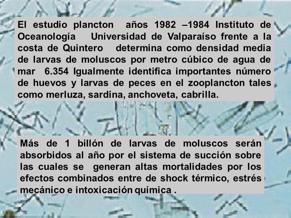 El estudio plancton años 1982 –1984 Instituto de Oceanología Universidad de Valparaíso frente a la costa de Quintero determina como densidad media de