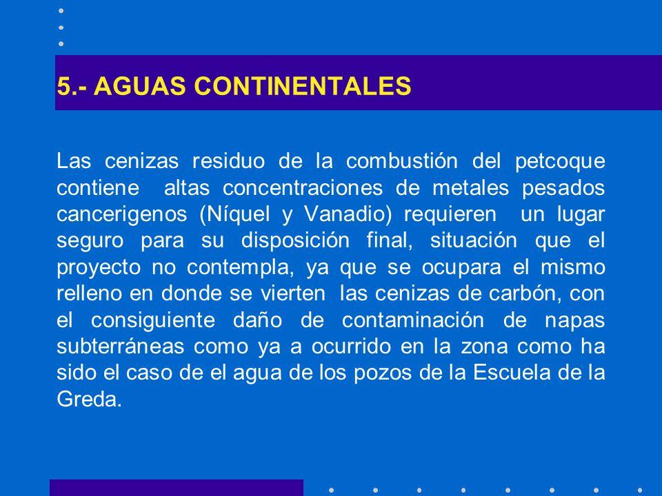 5.- AGUAS CONTINENTALES Las cenizas residuo de la combustión del petcoque contiene altas concentraciones de metales pesados cancerigenos (Níquel y Van