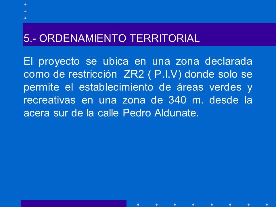 5.- ORDENAMIENTO TERRITORIAL El proyecto se ubica en una zona declarada como de restricción ZR2 ( P.I.V) donde solo se permite el establecimiento de á