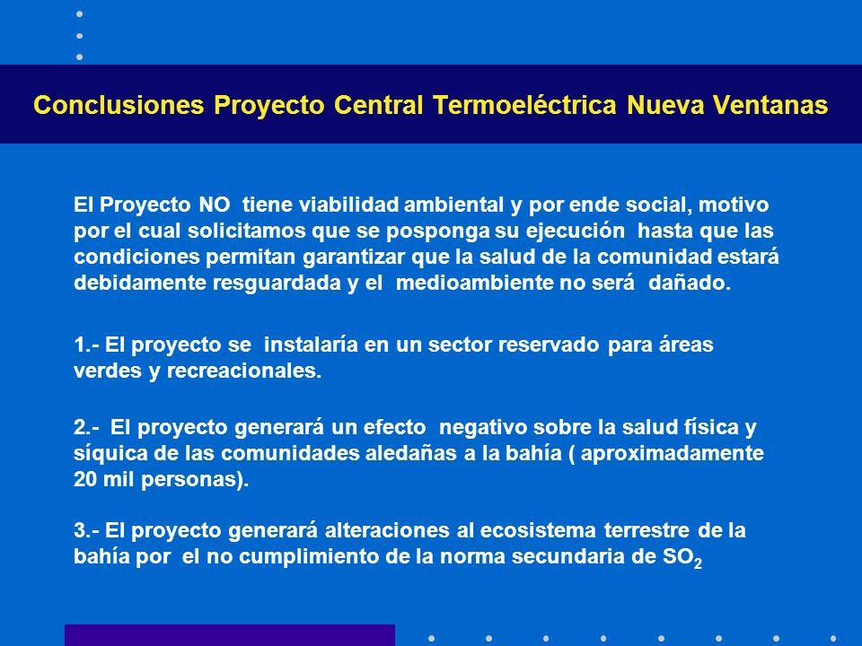 Conclusiones Proyecto Central Termoeléctrica Nueva Ventanas El Proyecto NO tiene viabilidad ambiental y por ende social, motivo por el cual solicitamo